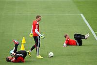 Goalkeeper Manuel Neuer of Germany along side Ron-Robert Zieler and Roman Weidenfeller