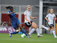 Aissatou Tounkara of France battles with Pauline Bremer of Germany during the UEFA Womens U19 Semi-Final at Parc y Scarlets Wednesday 28th August 2013. All images are the copyright of Jeff Thomas Photography-www.jaypics.photoshelter.com-07837 386244-Any use of images must be authorised by the copyright owner.