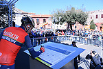 Vincenzo Nibali (ITA) Bahrain-Merida at sign on before the start of Stage 4 of the 2017 Tirreno Adriatico running 187km from Montalto di Castro to Terminillo, Italy. 11th March 2017.<br /> Picture: La Presse/Gian Mattia D'Alberto | Cyclefile<br /> <br /> <br /> All photos usage must carry mandatory copyright credit (&copy; Cyclefile | La Presse)