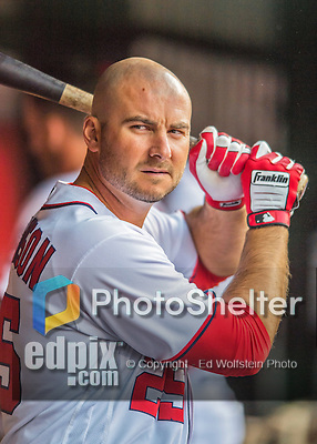 14 May 2016: Washington Nationals first baseman Clint Robinson stands ready in the dugout during the first game of a double-header against the Miami Marlins at Nationals Park in Washington, DC. The Nationals defeated the Marlins 6-4 in the afternoon matchup.  Mandatory Credit: Ed Wolfstein Photo *** RAW (NEF) Image File Available ***