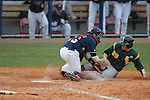 Ole Miss' Taylor Hightower (13) tags out Wright State's Zach Tanner (39) in the top of the 10th inning at Oxford University Stadium in Oxford, Miss. on Saturday, February 19, 2011. Ole Miss won 5-4 in 10 innings to improve to 2-0 on the season.
