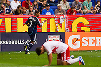 Sherjill MacDonald (7) of the Chicago Fire celebrates scoring. The Chicago Fire defeated the New York Red Bulls 2-0 during a Major League Soccer (MLS) match at Red Bull Arena in Harrison, NJ, on October 06, 2012.