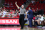 18 February 2017: Referee Mike Eades. The North Carolina State University Wolfpack hosted the University of Notre Dame Fighting Irish at the PNC Arena in Raleigh, North Carolina in a 2016-17 Division I Men's Basketball game. Notre Dame won the game 81-72.