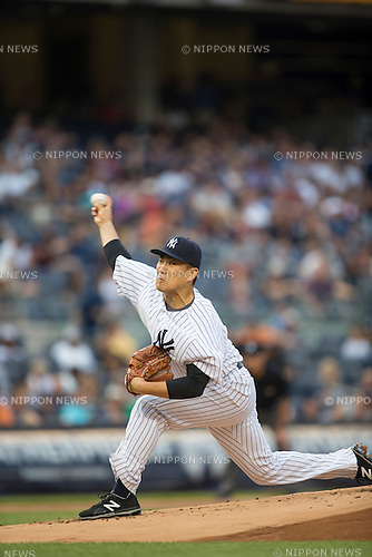 Masahiro Tanaka (Yankees),<br /> JULY 3, 2015 - MLB :<br /> Masahiro Tanaka of the New York Yankees pitches during the Major League Baseball game against the Tampa Bay Rays at Yankee Stadium in the Bronx, New York, United States. (Photo by Thomas Anderson/AFLO) (JAPANESE NEWSPAPER OUT)