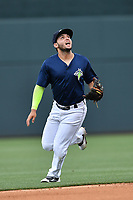 Shortstop Michael Paez (3) of the Columbia Fireflies plays defense in a game against the Lexington Legends on Sunday, April 23, 2017, at Spirit Communications Park in Columbia, South Carolina. Lexington won, 4-2. (Tom Priddy/Four Seam Images)