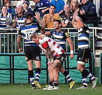 Jeff Williams of Bath Rugby celebrates after scoring his second try of the match. West Country Challenge Cup match, between Bath Rugby and Gloucester Rugby on September 26, 2015 at the Recreation Ground in Bath, England. Photo by: Patrick Khachfe / Onside Images