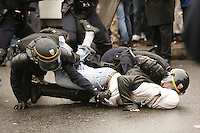 Paris, France - Place de la Republique....March 28, 2006....Confrontations between vandals (&quot;casseurs&quot;) and the CRS police after a very large peaceful demonstration of students and union members, against the CPE, The Contract of First Employment....Photo by Owen Franken - Photograph by Owen Franken