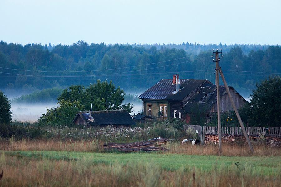 Korovikha, ivanova region, russia, 05/08/2012..wooden homes in the