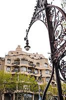 Spain, Barcelona. Casa Milà, also  known as La Pedrera, designed by Antoni Gaudí.