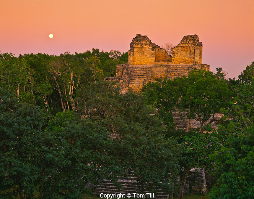 Moonrise at Temple of the Cormorant Dzibanche Mayan Ruin Quintana Roo State, yucatan, Mexico Pre and Post Classic Mayan Ruin 45 H 300-900 AD
