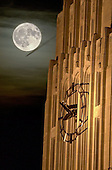 Burton Memorial Tower with a full Harvest Moon