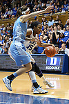 03 March 2013: Duke's Richa Jackson (15) and North Carolina's Megan Buckland (left). The Duke University Blue Devils played the University of North Carolina Tar Heels at Cameron Indoor Stadium in Durham, North Carolina in a 2012-2013 NCAA Division I and Atlantic Coast Conference women's college basketball game. Duke won the game 65-58.