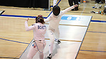 12 February 2017: Duke's Rita Somogyi (right) and Boston College's Renee Bichette (left) during their Epee match. The Duke University Blue Devils hosted the Boston College Eagles at Card Gym in Durham, North Carolina in a 2017 College Women's Fencing match. Duke won the dual match 19-8 overall, 6-3 Foil, 5-4 Epee, and 8-1 Saber.