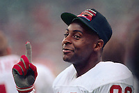NEW ORLEANS, LA - Jerry Rice of the San Francisco 49ers signals that his team in number one on the sidelines during Super Bowl XXIV against the Denver Broncos at the Superdome in New Orleans, Louisiana in January of 1990. Photo by Brad Mangin.
