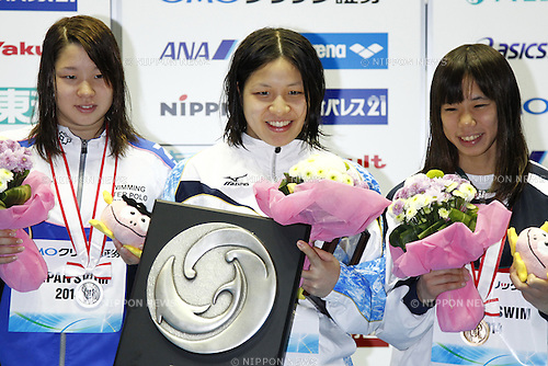 (L-R)<br /> Sayaka Akase,<br /> Marie Kamimura,<br /> Anna Konishi,<br /> APRIL 13, 2014 - Swimming : <br /> JAPAN SWIM 2014 <br /> Women's 200m Backstroke Vicrotry ceremony<br /> at Tatsumi International Swimming Pool, Tokyo, Japan. <br /> (Photo by AFLO SPORT)