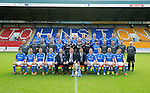 St Johnstone FC 2014-2015 Season Photocall..15.08.14<br /> Back row from left, Brian Easton, Steven Anderson, Murray Davidson, Tom Scobbie, Liam Caddis, Gary McDonald, Gareth Rodger and Gary Miller.<br /> Middle row from left, Alistair Stevenson (Youth Dev Manager), Ewan Peacock (Chief Scout), George Browning (Youth Dev GK Coach), Colin Leavy (Sports Scientist), Chris Kane, Steve Banks, Alan Mannus, Zander Clark, Dylan Easton, Alec Cleland (First Team Coach), Michael McBride (Physio), Alan Lochtie (Asst Physio) and Tommy Campbell (Kit Manager).<br /> Front row from left, Adam Morgan, Chris Millar, Steven MacLean, Dave Mackay (Captain), Jim Brown (Commercial Manager Binn Group) Tommy Wright (Manager), Callum Davidson (Asst Manager), Frazer Wright (Vice-Captain), David Wotherspoon, Lee Croft and Michael O'Halloran.<br /> Picture by Graeme Hart.<br /> Copyright Perthshire Picture Agency<br /> Tel: 01738 623350  Mobile: 07990 594431