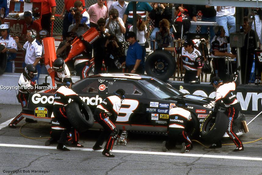 DAYTONA BEACH, FL - FEBRUARY 20: Dale Earnhardt makes a pit stop during the Daytona 500 on February 20, 1994, at the Daytona International Speedway in Daytona Beach, Florida.