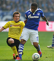 FUSSBALL   1. BUNDESLIGA   SAISON 2011/2012   31. SPIELTAG FC Schalke 04 - Borussia Dortmund                      14.04.2012 Jefferson Farfan (re, FC Schalke 04) gegen Kevin Grosskreutz (li, Borussia Dortmund)