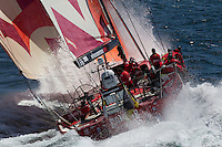 FRANCE, Lorient. 1st July 2012. Volvo Ocean Race, Start Leg 9 Lorient-Galway. Camper with Emirates Team New Zealand.