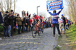 Trek-Segaferdo riders climb Oude Kwaremont during the 60th edition of the Record Bank E3 Harelbeke 2017, Flanders, Belgium. 24th March 2017.<br /> Picture: Eoin Clarke   Cyclefile<br /> <br /> <br /> All photos usage must carry mandatory copyright credit (&copy; Cyclefile   Eoin Clarke)