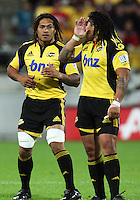 Hurricanes second five Ma'a Nonu lets Rodney So'oialo know the backline call during the Super 14 rugby match between the Hurricanes and Western Force at Westpac Stadium, Wellington, New Zealand on Saturday, 20 February 2010. Photo: Dave Lintott / lintottphoto.co.nz