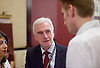 Jeremy Corbyn MP <br /> speech to the Labour Women's Conference, Brighton, Great Britain <br /> 26th September 2015 <br /> <br /> Shadow Chancellor of the Exchequer<br /> John McDonnell MP talking to Seb Corbyn <br /> <br /> <br /> <br /> Photograph by Elliott Franks <br /> Image licensed to Elliott Franks Photography Services