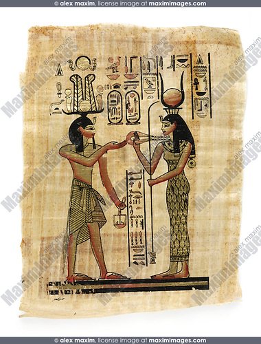 Stock photo of a Egyptian souvenir papyrus with antique art drawing Isolated on white background