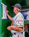 7 August 2016: San Francisco Giants bench coach Ron Wotus makes a note on the lineup card prior to a game against the Washington Nationals at Nationals Park in Washington, DC. The Nationals shut out the Giants 1-0 to take the rubber match of their 3-game series. Mandatory Credit: Ed Wolfstein Photo *** RAW (NEF) Image File Available ***