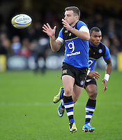 George Ford of Bath Rugby receives the ball during the pre-match warm-up. Aviva Premiership match, between Bath Rugby and Northampton Saints on December 5, 2015 at the Recreation Ground in Bath, England. Photo by: Patrick Khachfe / Onside Images
