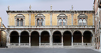 Low angle view of the Loggia del Consiglio, 1476, Piazza dei Signori, Verona, Italy. Statues of illustrious citizens of Verona crown the roof of the  Loggia del Consiglio, home of the City Council, renovated in the 1870s. Picture by Manuel Cohen.