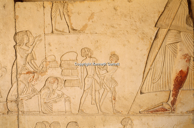 Relief from tomb of Horemheb; depicts scribes recording prisoners,Tutankhamun and the Golden Age of the Pharaohs, Page 178