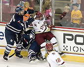 Tyler Turcotte (Toronto - 2), Kyle Ventura (Toronto - 14), Pat Mullane (BC - 11) - The Boston College Eagles defeated the visiting University of Toronto Varsity Blues 8-0 in an exhibition game on Sunday afternoon, October 3, 2010, at Conte Forum in Chestnut Hill, MA.