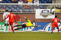 7 June 2011: Panama forward Lluis Tejada (18) (not pictured) scores on Guadeloupe goalkeeper Franck Grandel (23) during the CONCACAF soccer match between Panama and Guadeloupe at Ford Field Detroit, Michigan.