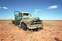 Retired truck sits in paddocks at Cordillo Downs, South Australia.