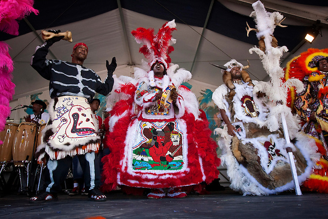 The Golden Blade Mardi Gras Indians performing on the Jazz and Heritage stage at the New Orleans Jazz and Heritage Festival at the New Orleans Fair Grounds Race Course in New Orleans, Louisiana, USA, 25 April 2009.