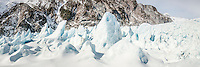 Ice blocks on Franz Josef Glacier, Westland National Park, West Coast, Westland Tai Poutini National Park, World Heritage Area, New Zealand