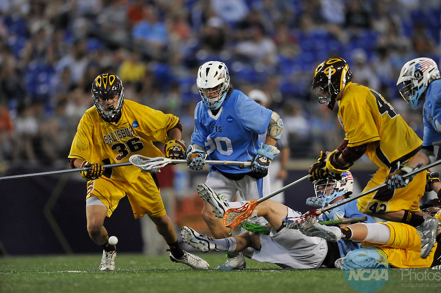 29 MAY 2011:  Sam Diss (30) of Tufts University goes for the ball during the game against Salisbury University during the Division III Men's Lacrosse Championship held at M+T Bank Stadium in Baltimore, MD.  Salisbury defeated Tufts 19-7 for the national title. Larry French/NCAA Photos