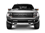 Front view of 2011 Ford F-150 SVT Raptor 4x4 pickup truck isoalted on white background with clipping path