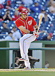 19 September 2012: Washington Nationals outfielder Michael Morse prepares to step up to the plate during a game against the Los Angeles Dodgers at Nationals Park in Washington, DC. The Nationals defeated the Dodgers 3-1 in the first game of their double-header. Mandatory Credit: Ed Wolfstein Photo