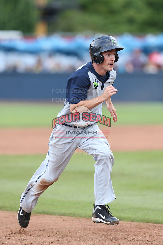 Taylor Ratliff  #4 of the Hillsboro Hops runs the bases during a game against the Vancouver Canadians at Nat Bailey Stadium on July 24, 2014 in Vancouver, British Columbia. Hillsboro defeated Vancouver, 7-3. (Larry Goren/Four Seam Images)