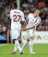 FUSSBALL   CHAMPIONS LEAGUE   SAISON 2011/2012   GRUPPE  H 13.09.2011 FC Barcelona - AC Mailand  Kevin Prince Boateng wird ausgewechselt fuer Massimo Ambrosini (v. li., AC Mailand)