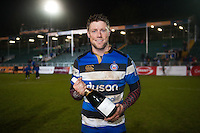 Bath Rugby Man of the Match Rhys Priestland poses for a photo after the match. Anglo-Welsh Cup match, between Bath Rugby and Gloucester Rugby on January 27, 2017 at the Recreation Ground in Bath, England. Photo by: Patrick Khachfe / Onside Images