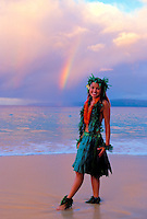 Hula dancer with rainbow at Makena, Maui.