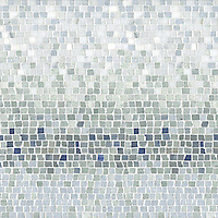 Mist, a natural stone hand chopped tumbled mosaic shown in Ming Green, Kays Green, Celeste, Calacatta, Blue Macauba and Lettuce Ming, is part of the Metamorphosis Collection by Sara Baldwin for New Ravenna Mosaics.