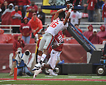 Ole Miss wide receiver Markeith Summers (16) makes a touchdown grab against Arkansas cornerback Darius Winston (21)  at Reynolds Razorback Stadium in Fayetteville, Ark. on Saturday, October 23, 2010.
