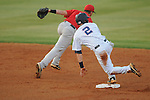 Ole Miss' Alex Yarbrough (2) is safe at second on a throwing error vs. Georgia in a college baseball action at Oxford-University Stadium in Oxford, Miss. on Friday, April 8, 2011. Georgia won 9-8.