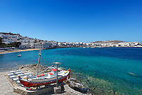 A boat on the coast of the old port of Mykonos