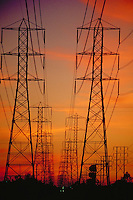 High-voltage, High Tension, Power Lines, Transition Stations, Vertical, Fiery Sunset, California