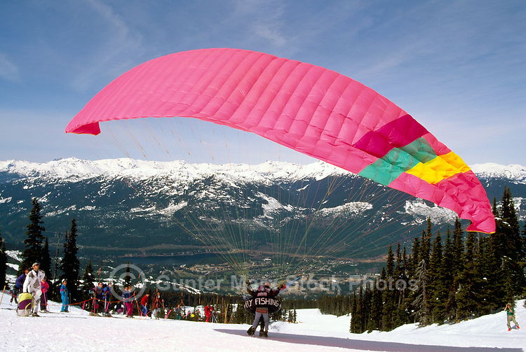 Whistler, BC, British Columbia, Canada - Paraglider at Launch Pad, Paragliding Meet, Blackcomb Mountain (Coast Mountains), Whistler Resort, Winter