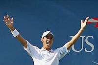 Kei Nishikori of Japan celebrates after betting Novak Djokovic of Serbia during men semifinal match at the US Open 2014 tennis tournament in the USTA Billie Jean King National Center, New York.  09.05.2014. VIEWpress